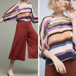 Anthropologie Maeve Silk Striped Shirt Size Medium